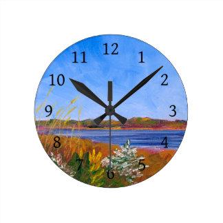 Golden Delaware River Round Clock