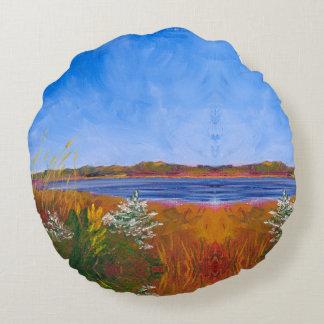 Golden Delaware River Round Pillow