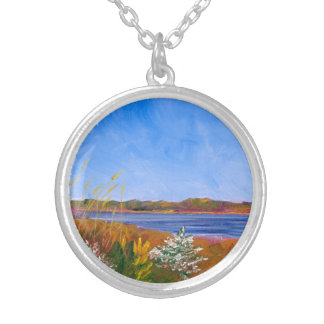 Golden Delaware River Silver Plated Necklace