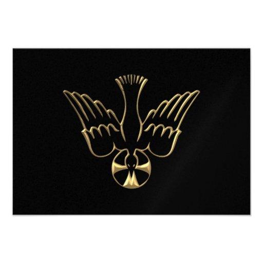 Golden Descent of The Holy Spirit Symbol Invitations