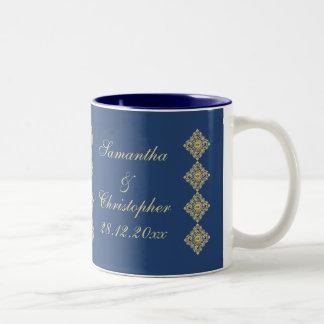 Golden Diamond Damask Blue Wedding Coffee Mug