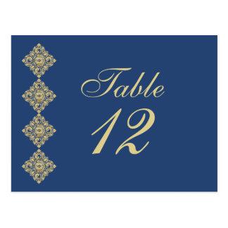 Golden Diamond Damask Blue Wedding Table Number Postcard