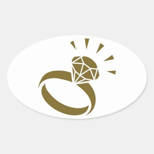 Golden diamond ring oval sticker