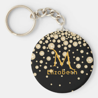 Golden diamonds on black monogrammed keychain