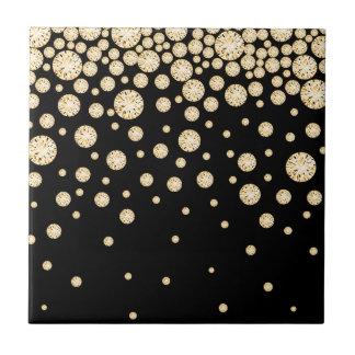 Golden diamonds on black tile