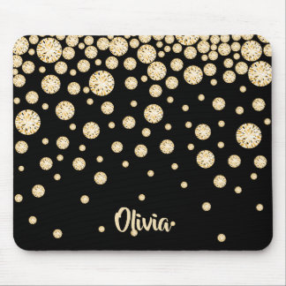 Golden diamonds on black with name mouse pad