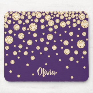 Golden diamonds on purple with name mouse pad