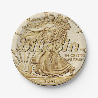 Golden Dollar Bitcoin Cryptocurrency HODL Funny Paper Plate