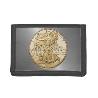 Golden Dollar Bitcoin Cryptocurrency HODL Funny Tri-fold Wallet