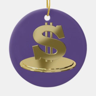 Golden dollar ceramic ornament