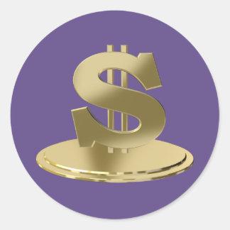Golden dollar classic round sticker