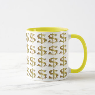 Golden Dollar Sign Coffee Mug