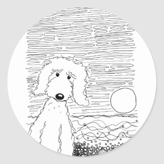Golden Doodle on the Beach Classic Round Sticker