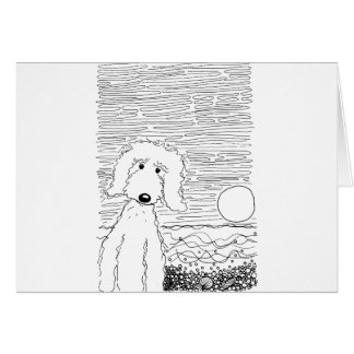 Golden Doodle on the Beach Greeting Card