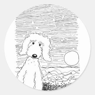 Golden Doodle on the Beach Round Sticker