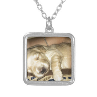 Golden Doodle Puppy Sleeping Silver Plated Necklace