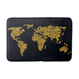 Golden Dot World Map Bathroom Mat
