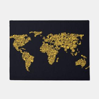 Golden Dot World Map Doormat