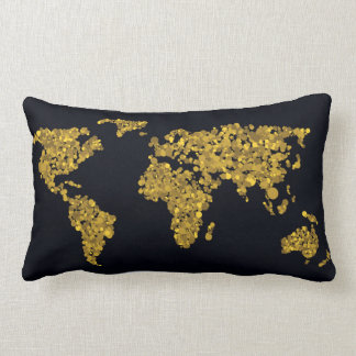 Golden Dot World Map Lumbar Pillow