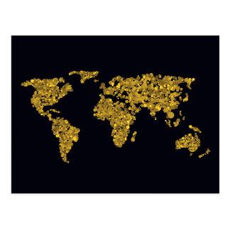 Golden Dot World Map Postcard