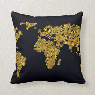 Golden Dot World Map Throw Pillow