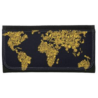 Golden Dot World Map Wallet