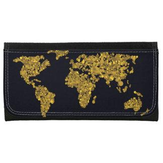 Golden Dot World Map Wallets