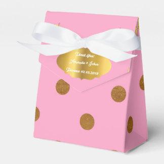 Golden Dots Pink Rose Blush Favor Thank You Party Favor Box