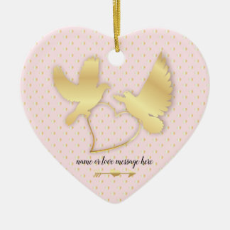 Golden Doves with a Golden Heart, Gentle Love Ceramic Ornament