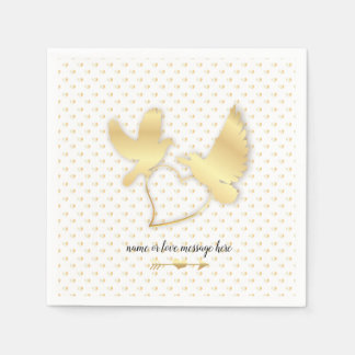Golden Doves with a Golden Heart, Gentle Love Disposable Napkins