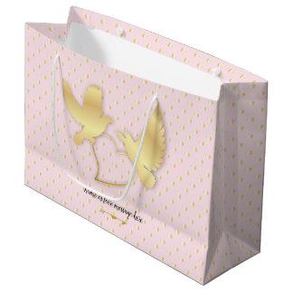 Golden Doves with a Golden Heart, Gentle Love Large Gift Bag