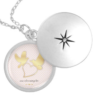 Golden Doves with a Golden Heart, Gentle Love Locket Necklace