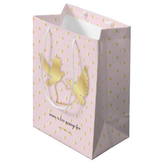 Golden Doves with a Golden Heart, Gentle Love Medium Gift Bag