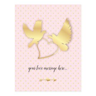 Golden Doves with a Golden Heart, Gentle Love Postcard