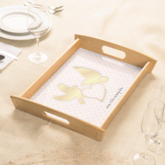 Golden Doves with a Golden Heart, Gentle Love Serving Tray