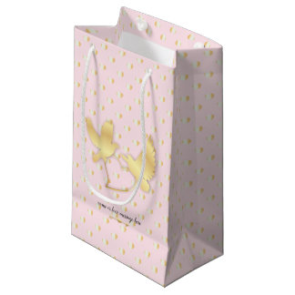 Golden Doves with a Golden Heart, Gentle Love Small Gift Bag