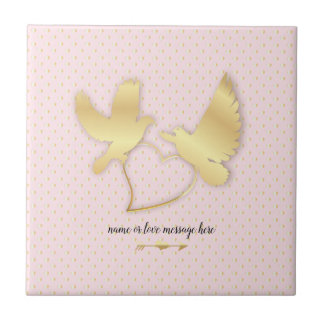 Golden Doves with a Golden Heart, Gentle Love Tile
