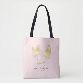 Golden Doves with a Golden Heart, Gentle Love Tote Bag