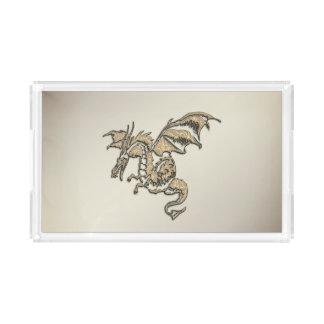 Golden Dragon Acrylic Tray
