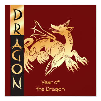 Golden Dragon and Banner Card