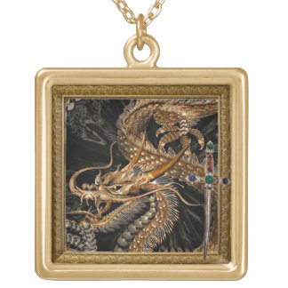 golden dragon and sword necklace