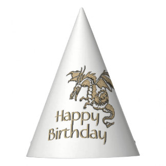 Golden Dragon Birthday Party Hat
