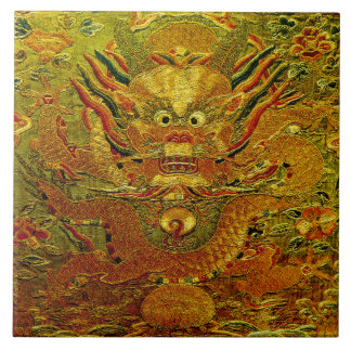 Golden dragon Chinese embroidery Ming dynasty Tile