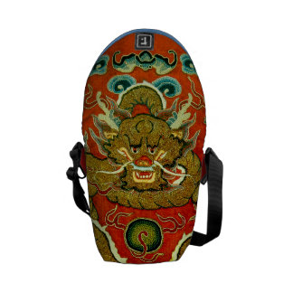 Golden dragon Chinese embroidery Qing dynasty Messenger Bag