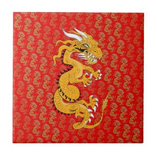 Golden Dragon on Red Tile