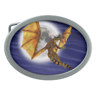 Golden Dragon Oval Belt Buckles