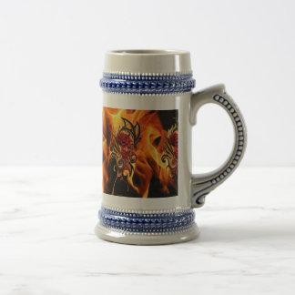 golden dragon rose beer stein