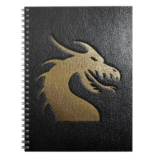 Golden dragon silhouette on black leather notebooks