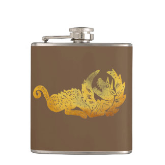 Golden Dragon Vinyl Wrapped Flask