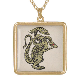 Golden Dragon with Three Heads Gold Plated Necklace